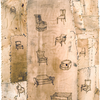 Vintage fabric and ironing board covers, thread, stain, and pyrography on paper