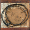 Burlap, sticks, wire, thread, rope, nails, tape, stain, paint, pencil, and pyrography on wood